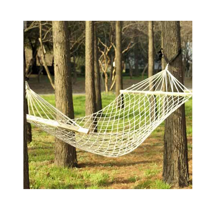 Outdoor cotton rope hammock bed mytacticalworld for Rope hammock plans
